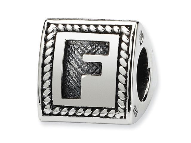 Sterling Silver SimStars Reflections Letter F Triangle Block Bead
