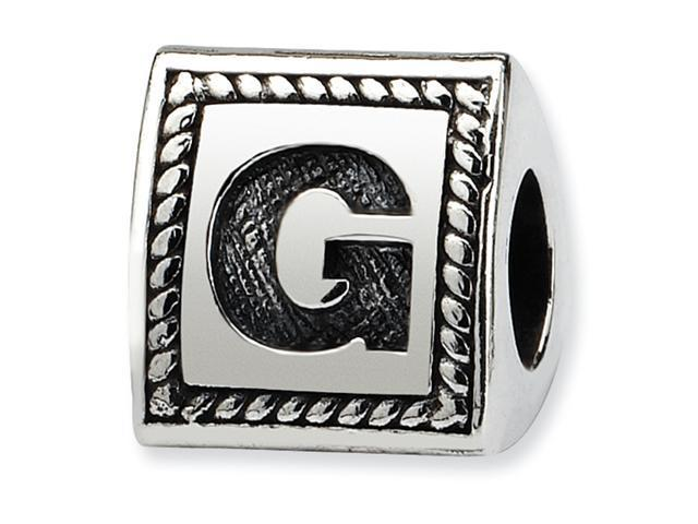 Sterling Silver SimStars Reflections Letter G Triangle Block Bead