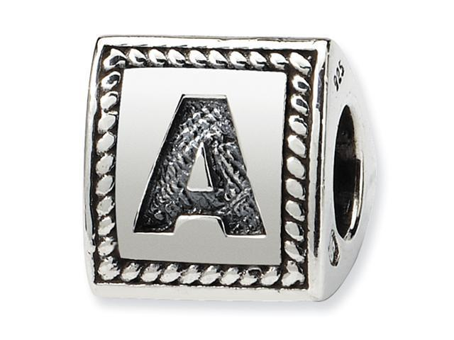 Sterling Silver SimStars Reflections Letter A Triangle Block Bead