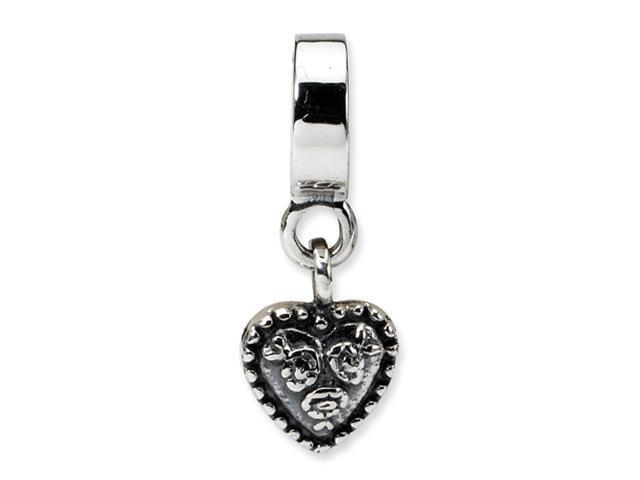 Sterling Silver SimStars Reflections Heart Dangle Bead