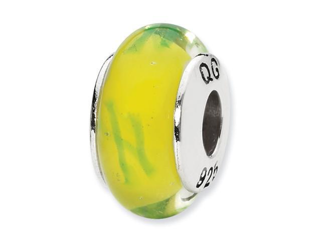 Sterling Silver SimStars Reflections Yellow/Green Scribbles Hand-blown GlaSterling Silver Bead