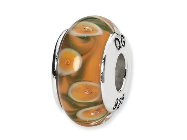 Sterling Silver SimStars Reflections Orange/Green Hand-blown GlaSterling Silver Bead