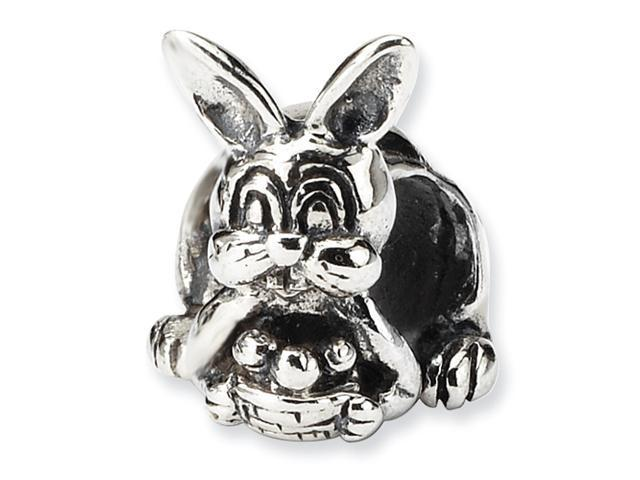 Sterling Silver SimStars Reflections Bunny with Basket Bead