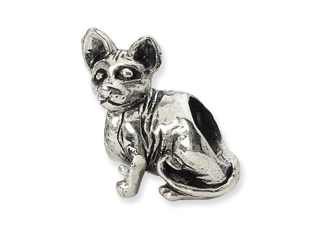 Sterling Silver SimStars Reflections Sphynx Cat Bead