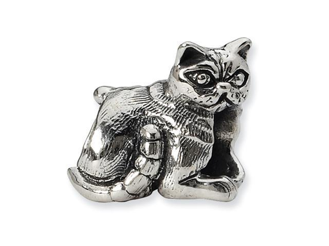 Sterling Silver SimStars Reflections Exotic Shorthair Cat Bead