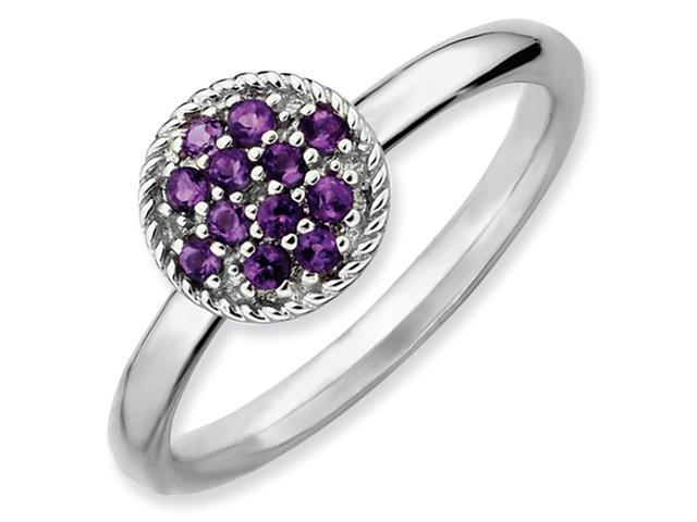 Sterling Silver Stackable Expressions Amethyst Rhodium Ring