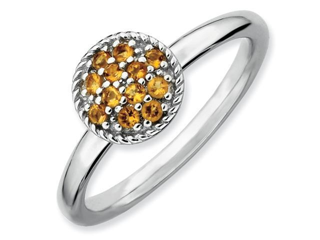 Sterling Silver Stackable Expressions Citrine Rhodium Ring
