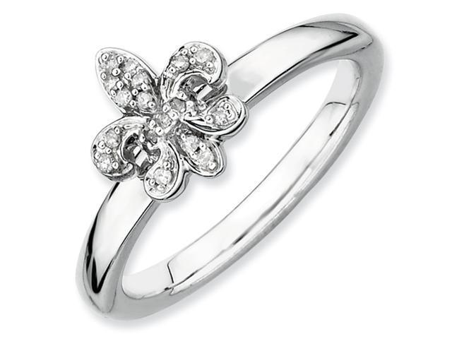 Sterling Silver Stackable Expressions Fleur De Lis Diamond Ring