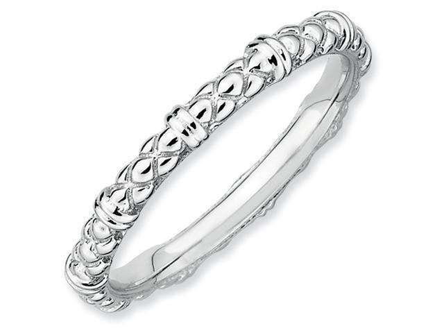 Sterling Silver Stackable Expressions Rhodium Cable Ring