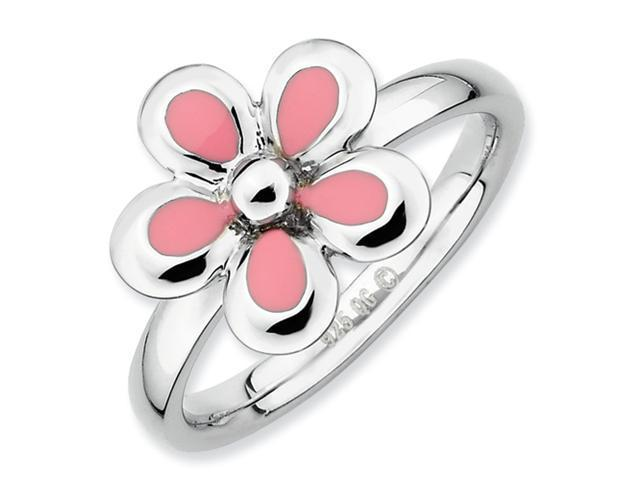 Sterling Silver Stackable Expressions Polished Pink Enameled Flower Ring