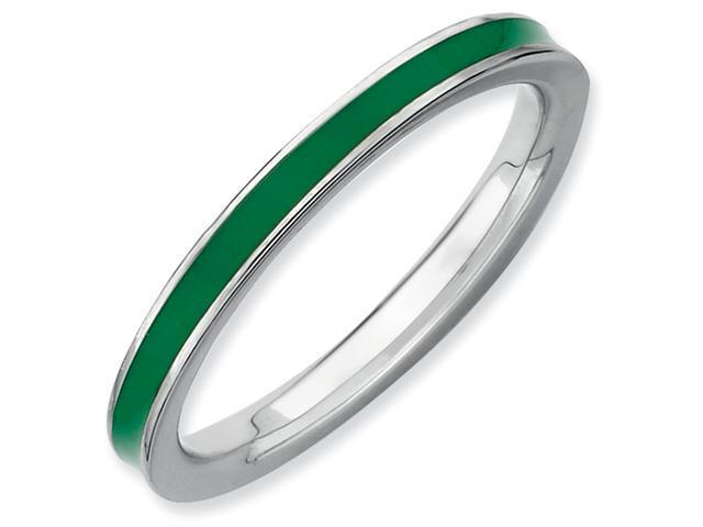 Sterling Silver Stackable Expressions Green Enameled 2.25mm Ring