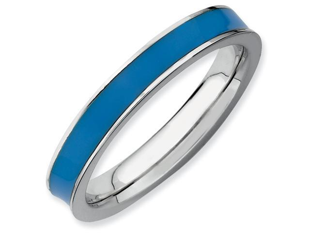 Sterling Silver Stackable Expressions Blue Enameled 3.25mm Ring