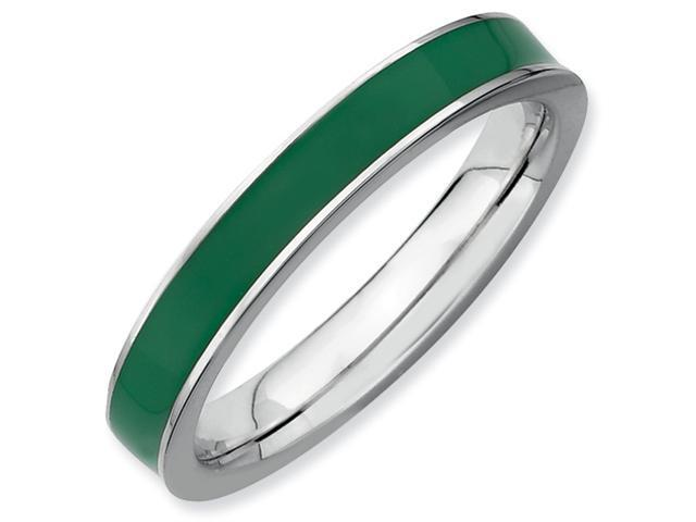 Sterling Silver Stackable Expressions Green Enameled 3.25mm Ring