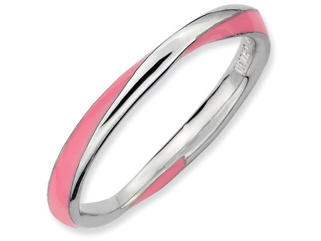 Sterling Silver Twisted Pink Enameled 2.5 x 2.25mm Stackable Ring