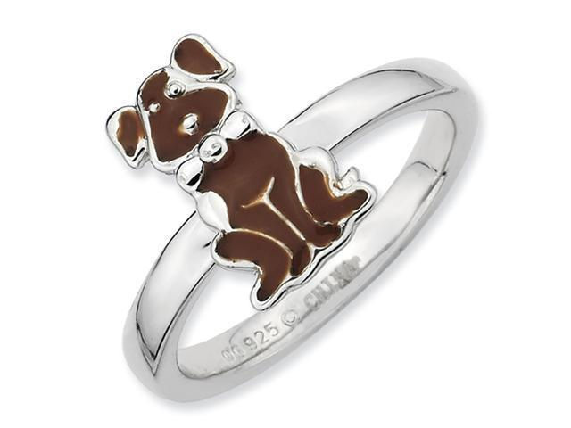 Sterling Silver Brown Enameled Dog Stackable Ring