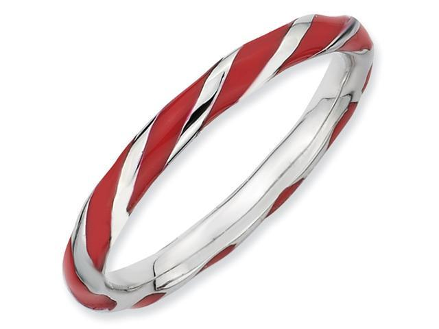 Sterling Silver Twisted Red Enameled 2.4 x 2.0mm Stackable Ring