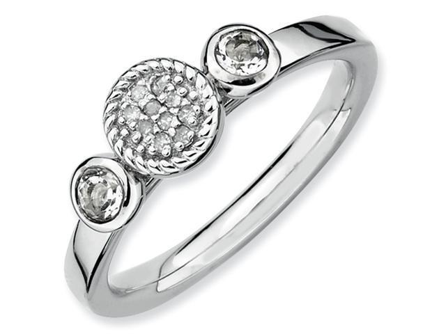 Sterling Silver Stackable Expressions Db Round White Topaz & Dia. Ring