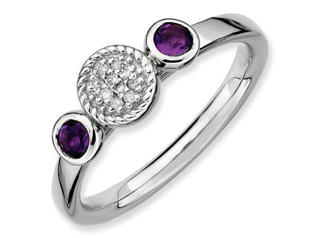 Sterling Silver Stackable Expressions Db Round Amethyst & Dia. Ring