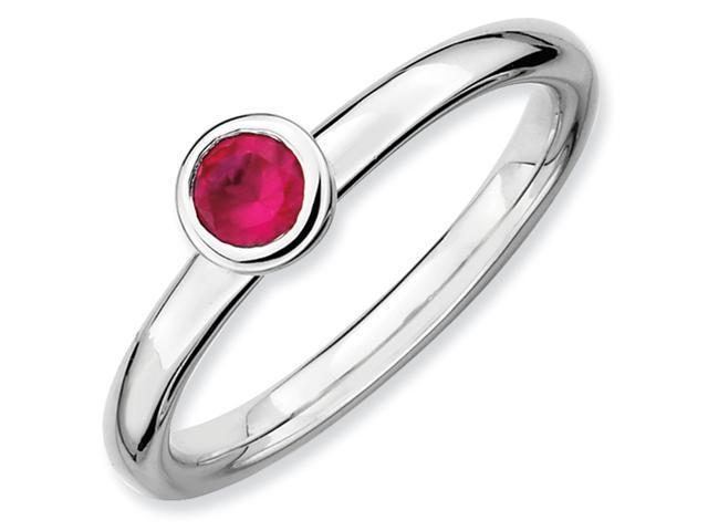 Sterling Silver Stackable Expressions Low 4mm Round Cr. Ruby Ring