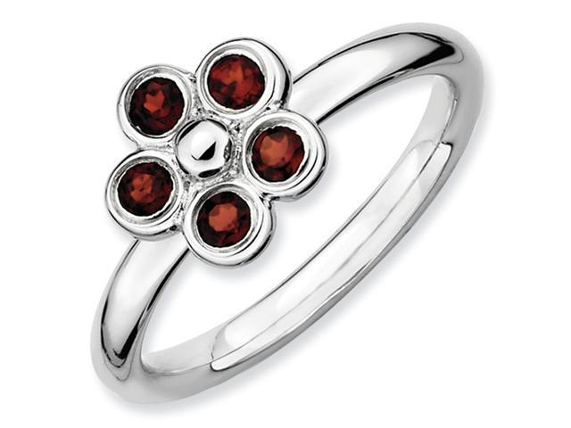 Sterling Silver Stackable Expressions Garnet Flower Ring
