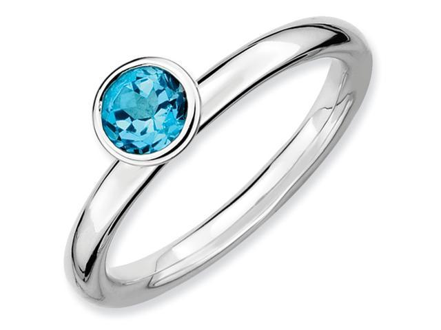 Sterling Silver Stackable Expressions High 5mm Round Blue Topaz Ring