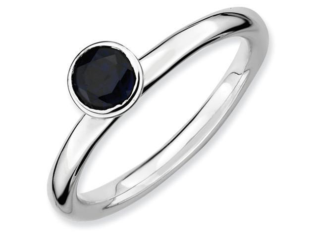 Sterling Silver Stackable Expressions High 5mm Round Cr. Sapphire Ring