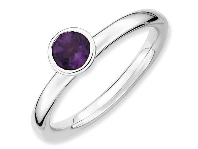 Sterling Silver Stackable Expressions High 5mm Round Amethyst Ring