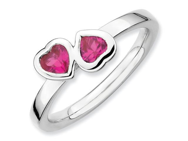 Sterling Silver Stackable Expressions Cr. Ruby Double Heart Ring