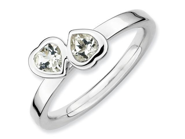 Sterling Silver Stackable Expressions White Topaz Double Heart Ring