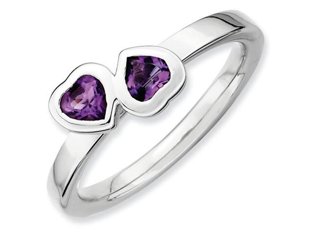 Sterling Silver Stackable Expressions Amethyst Double Heart Ring