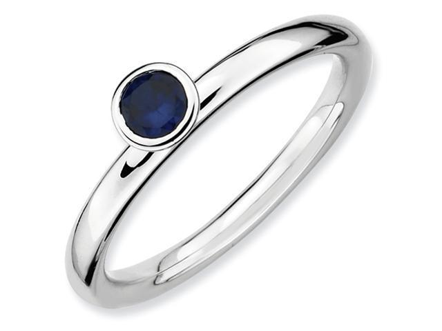 Sterling Silver Stackable Expressions High 4mm Round Cr. Sapphire Ring