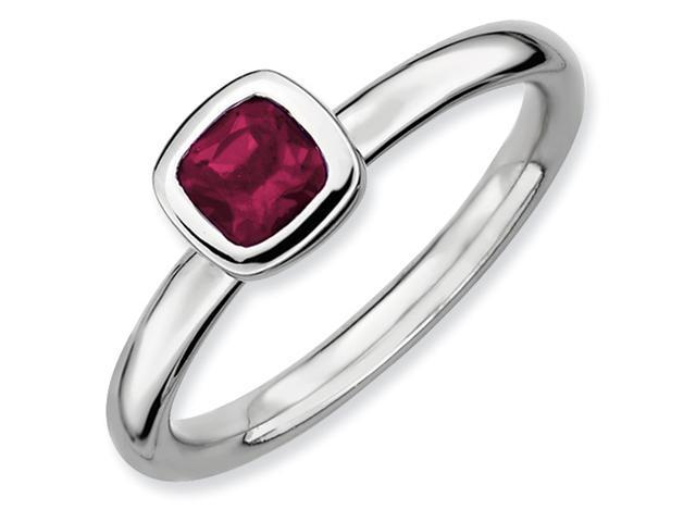 Sterling Silver Stackable Expressions Cushion Cut Rhod. Garnet Ring