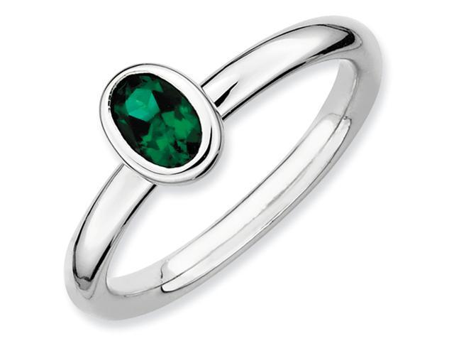 Sterling Silver Stackable Expressions Oval Created Emerald Ring