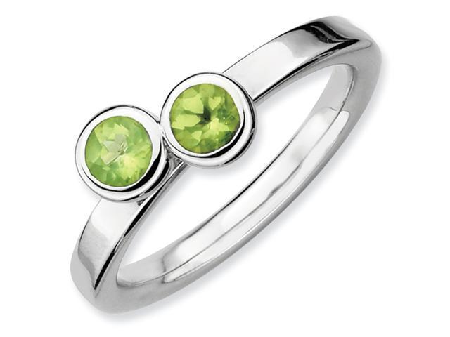 Sterling Silver Stackable Expressions Db Round Peridot Ring