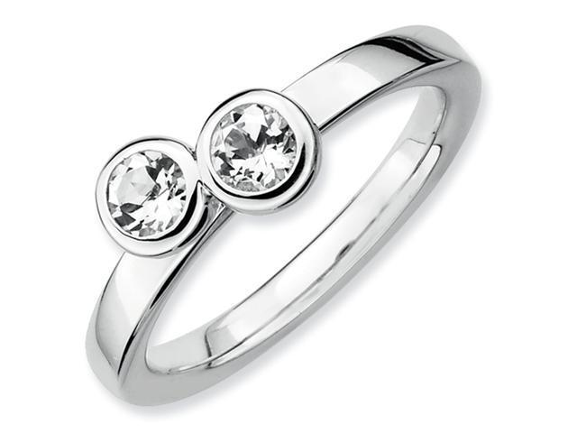 Sterling Silver Stackable Expressions Db Round White Topaz Ring