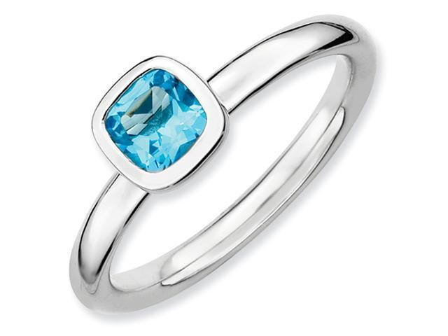 Sterling Silver Stackable Expressions Cushion Cut Blue Topaz Ring