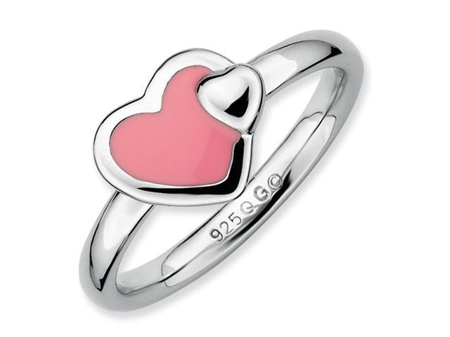 Sterling Silver Stackable Expressions Polished Pink Enameled Heart Ring