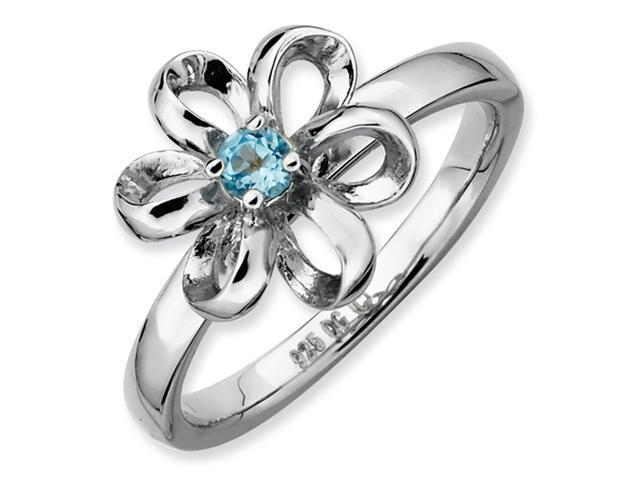 Sterling Silver Stackable Expressions Polished Blue Topaz Flower Ring