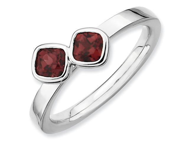 Sterling Silver Stackable Expressions Db Cushion Cut Garnet Ring