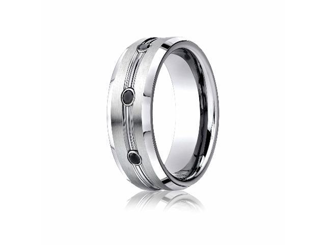Cobaltchrome™ 7.5mm Comfort-Fit  3-Stone Black Diamond Design Ring (.20ct)