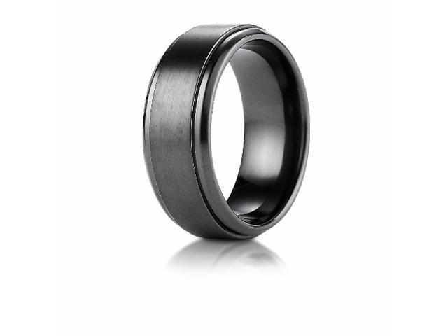 Black Titamium 9mm Comfort-Fit Satin-Finished Stair-Step Edge Design Ring