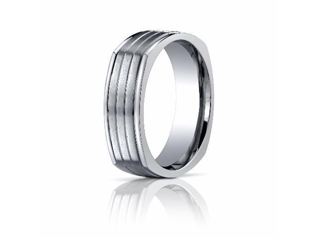 Titanium 7mm Comfort-Fit Satin-Finished Four-Sided Design Ring