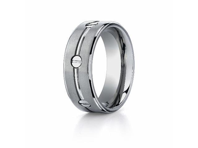 Titanium 8mm Comfort-Fit Satin-Finished Screw-Design Ring