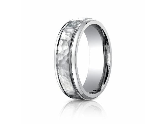 Titanium 7mm Comfort-Fit Hammered-Finished Design Ring