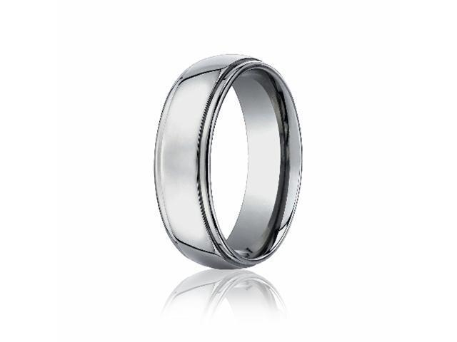 Titanium 7mm Comfort-Fit Stepped Edge Design Ring