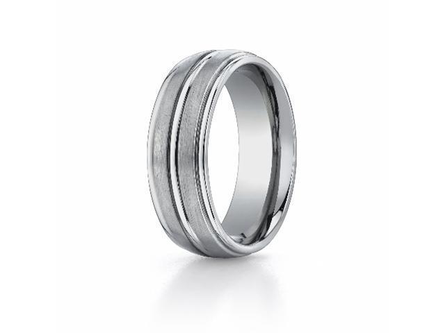 Titanium 8mm Comfort-Fit Satin-Finished Round Edge Design Ring