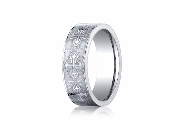 Cobaltchrome™ 7mm Comfort-Fit Cross Design Ring