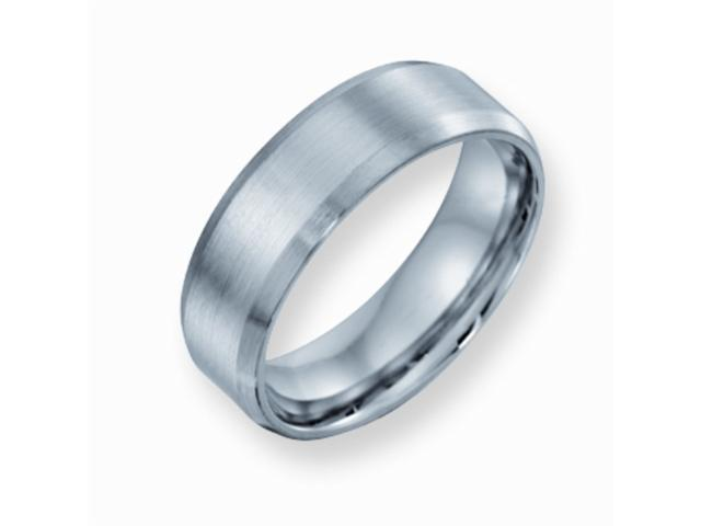 Cobalt Chromium Satin and Polish Finish 7mm Comfort Fit Wedding Band Ring (SIZE 8 )