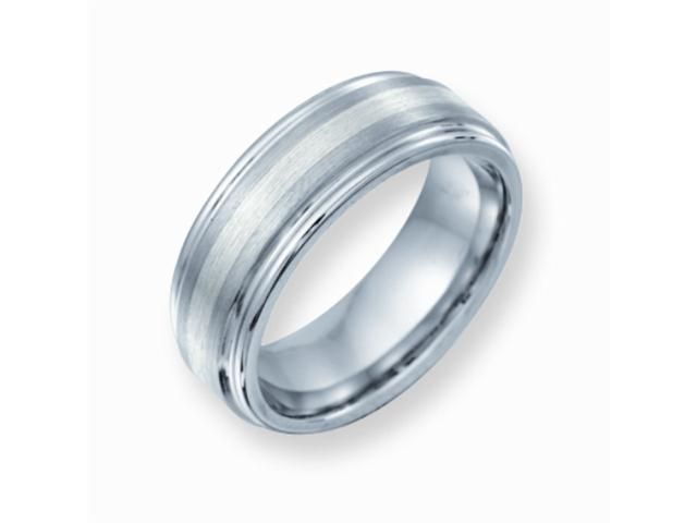 Cobalt Chromium Sterling Silver Inlay Satin and Polish Finish 8mm Comfort Fit Wedding Band Ring (SIZE 12.5 )
