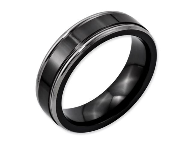 Titanium Black with Grey Borders 6.5mm Comfort Fit Wedding Band Ring (SIZE 11.5 )
